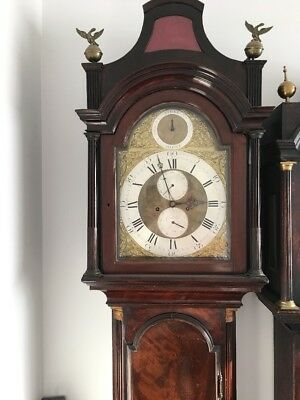 Antique London Longcase Clock Brass Dial Mahogany 8 Day Grandfather Clock 18th C