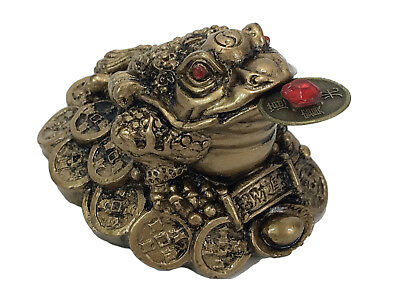 Fortune Lucky Coin Frog Money Toad Statue Figurine Brass/Gold Resin Feng Shui