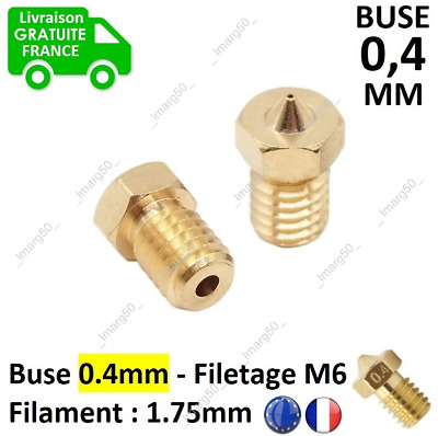 Buse 0.4mm Filament 1.75mm Filetage M6 Imprimante 3D Extrudeuse V4,V5,V6, Kraken