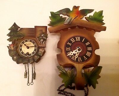 2x Small Vintage Cuckoo Clock Type for spares or repair