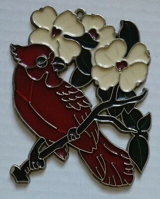 Cardinal on Branch With Dogwood Flowers Stained Glass Suncatcher Window Ornament
