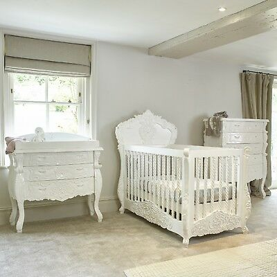 IN STOCK - French Rococo style hand carved cot bed, chest & baby changing table