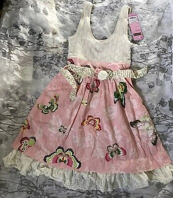 Mustard Pie Women XSmall Girls Sz14 Lace Petal Pink Butterflies Easter dress NWT