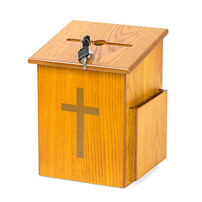 Source One Wooden Church Offering Donation Box w/Cross (1 Pack, Medium)
