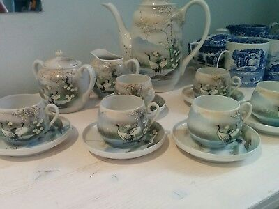 Japanese beautiful egg shell 15 piece  tea/coffee set depicting cranes and flora
