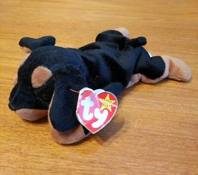 """Adorable Ty beanie baby retired/rare doberman pup, """"Doby"""""""