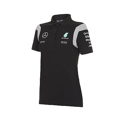 Damen-Polo-Shirt Schwarz Mercedes AMG Petronas F1 Team 2016 L