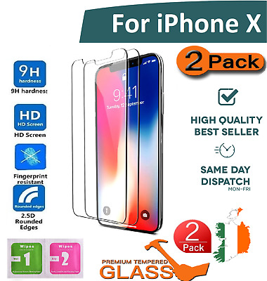 100% Genune 2 X Tempered Glass Screen protector protection For Apple iPhone X 10