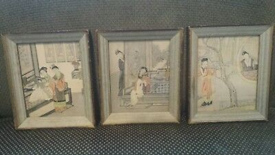 Japanese Woodblock Framed Prints Set / Lot of 3 - Asian - Vintage Antique KOBAN