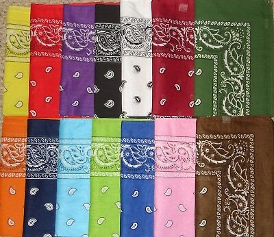 U Pick Cotton Paisley Bandana Durag Hanky Double Sided 20 Colors 22X22 New