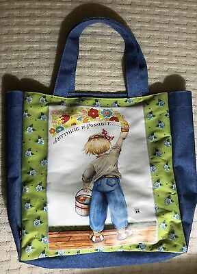 Mary Engelbreit Anything Is Possible Book Bag Tote Collectible Girl Flowers EUC