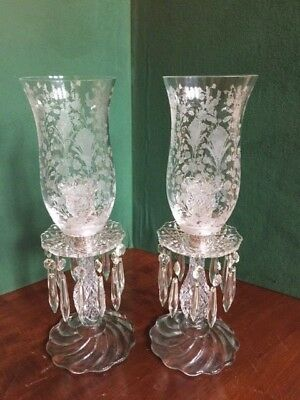 """Pair Crystal Candlesticks Etched Globes Prisms 15"""" Tall"""
