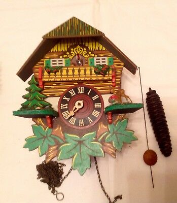 Small Vintage Weighted Cuckoo Clock Type