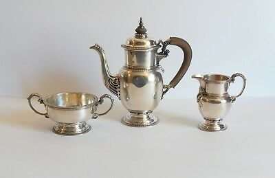 English Sterling Silver 3-Piece Coffee Set, London, c. 1930, 1330 Grams