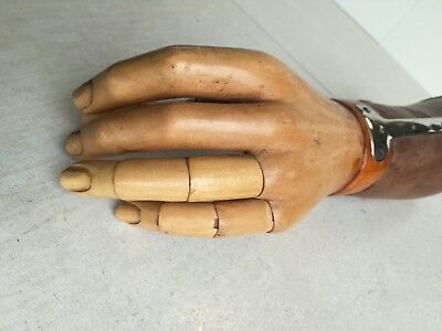 Antique German 1900 leather wood medical arm prothese articulated steampunk