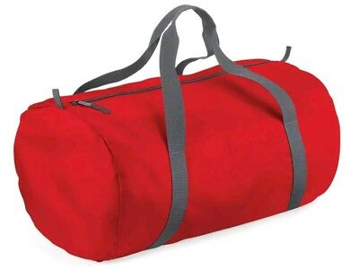 Bagbase Packaway Barrel Gym Bag, Travel Fitness Bag BG150 in red/grey