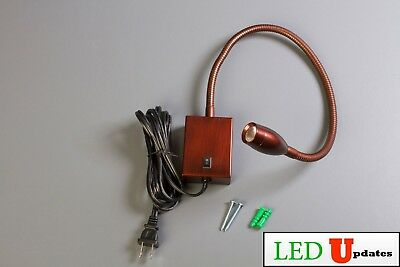 Bedside Wall mount LED reading light Warm White adjustable + AC plug bronze