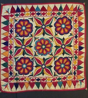 Vintage Patch Work Gypsy Banjara Kutch Tapestry Rabari Hand Embroidery Rare 19""