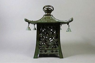 "Japanese Antique Copper Bronze Lantern ""Ryuu"" made by Takaoka Copper Studio."