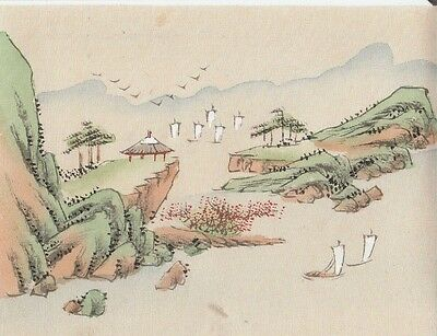 Hand Painted Japanese Miniature Ink Drawing with Sailboats on Rice Paper c.1930s