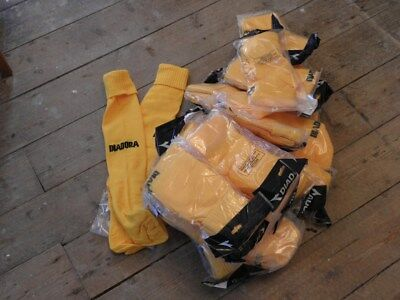yellow football rugby hockey socks size 3 to 6 diadora padded 100% polyamide
