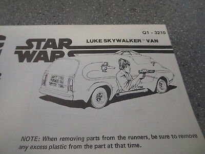 Model Kit Replacement Instruction Star Wars Luke Skywalker Van