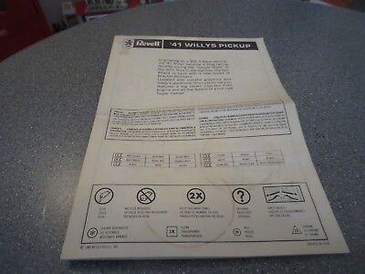 Model Kit Replacement Instruction 41 Willys Pick Up