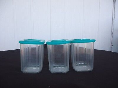 3 tupperware clear mates green lid canisters