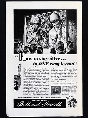 1946 Vintage Print Ad 40's BELL & HOWELL Home Movie Camera Soldier War