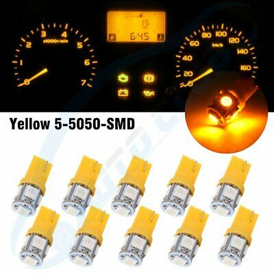 10x Yellow T10 5050 5SMD W5W 194 168 LED Wedge Dashboard Gauge Light Lamp Bulb