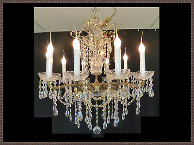 Vintage Solid Brass Chandelier 10 Light   Amazing Crystals Gorgeous Fixture!!