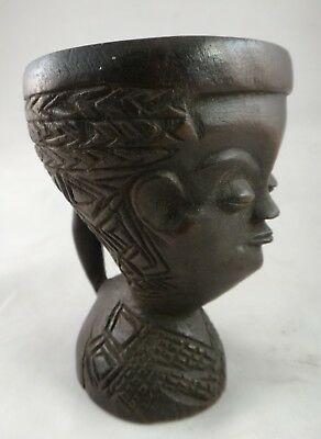 """Vintage African Kuba Cup w/handle & Carved Face. 1st ½ 20th c. 4 ¼"""" x 3'"""