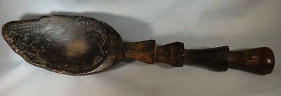"""Vtg. African Carved Wood Ceremonial Spoon w/head finial , 1st ½ 20th c. 16 3/8"""""""