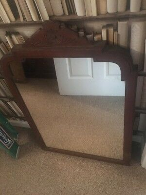 Antique Mirror Oak Wooden Over The Mental  100 Years Old Fabulous Vintage