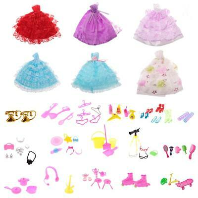 6pcs Wedding Gown Dress Clothes & 80pcs Accessory for Barbie Doll Dress Up