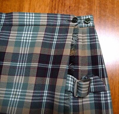 "Fletcher Jones Ladies Kilt Skirt Green tartan  Medium -Waist from 30"" to 33""  EC"