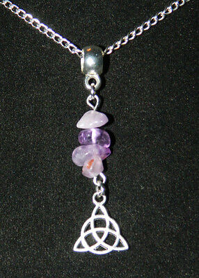 """Gemstone Triquetra Pendant Silver Plated Chain Necklace 17"""" Pagan Wicca Occult"""