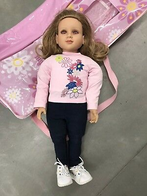 "My Twinn 23"" Poseable Doll Blonde with Pink purple Eyes 2011 with case & outfit"