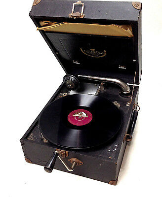 VINTAGE Antique 1920's DULCEOLA PORTABLE GRAMOPHONE with Records Working Rare