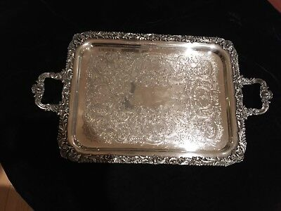 Vintage Friedman Silverplate 2 Handle Large Serving Tray-Beautiful!