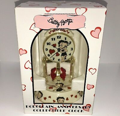 BETTY BOOP Anniversary Collectible Clock Porcelain Glass Dome NIB