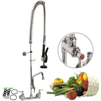 "12"" Commercial Wall Mount Kitchen Pre-Rinse Faucet w/ Add-On Restaurant Tap KZ"