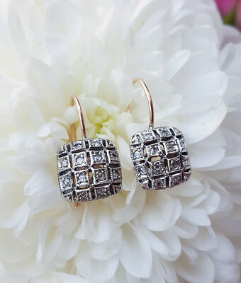 Vintage Style 9ct Rose Gold & Diamond Square Drop Earrings 0.20ct
