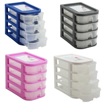 4 Drawer Plastic Small Desktop Storage Organiser Box Office Stationery 4 Tiers