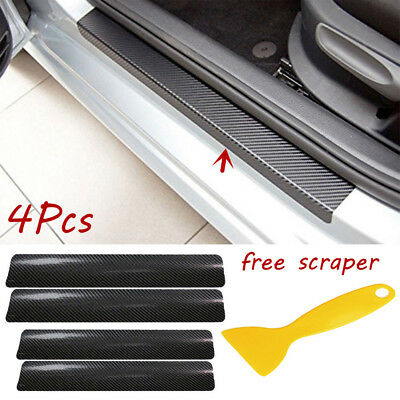 4x Black Carbon Fiber Look Car Door Plate Sill Scuff Cover Anti Scratch Sticker&