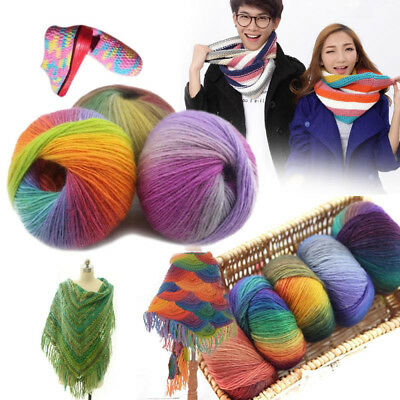 1 Ball 50g Rainbow Colorful Hand-woven Crochet Cashmere Wool Blend Yarn Knitting