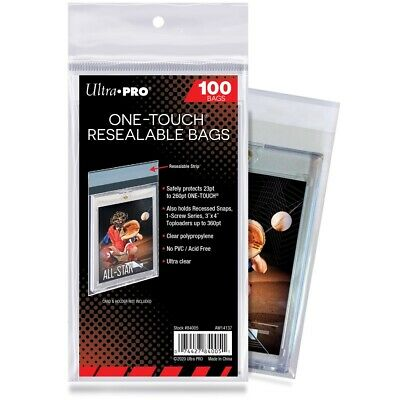 ONE TOUCH RESEALABLE BAGS Ultra Pro - 100ct Pack Clear Card Toploader Protectors