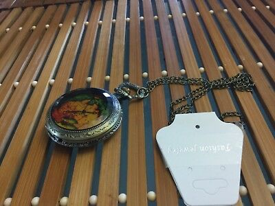 5cm diameter working fob pocket watch with 38cm length chain NWOT Unwanted gift