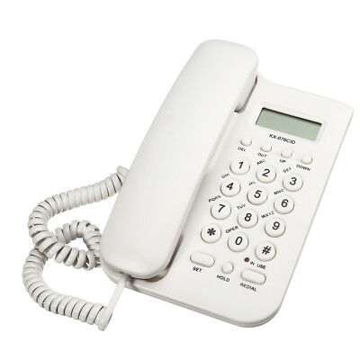 NEW WHITE Desktop Home Wall Mount Office Corded Phone Caller Id Telephone Clock