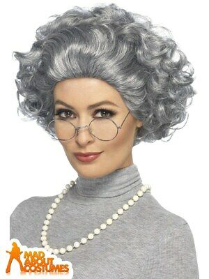 Grey Granny Wig Kit with Glasses and Necklace Fancy Dress Accessory Adults